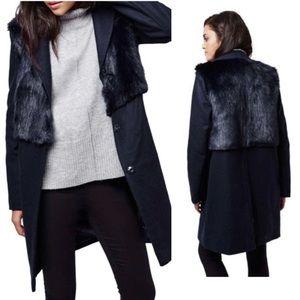 TopShop Longline Pea Coat Faux Fur Vest Navy Small